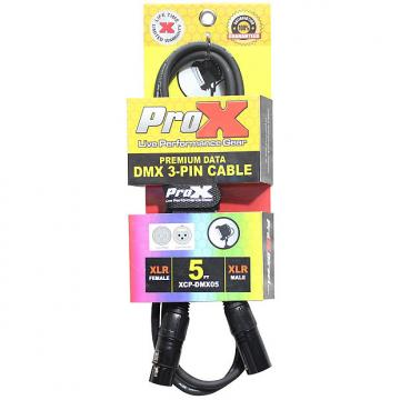 Custom ProX XCP-DMX05 3-Pin DMX Cable Tour-Grade Professional High Performance 5 ft