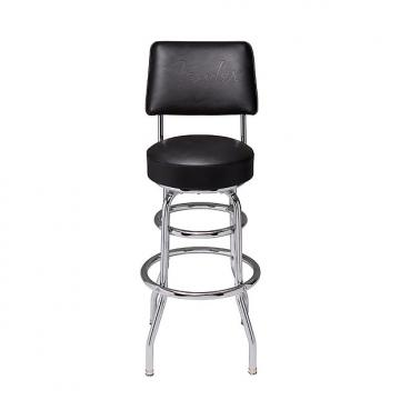 Custom Fender branded bar stool with back rest - new for 2017  Black On Distresses Brown Leather