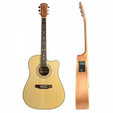 "Shuffle 41"" Cutaway Electric Acoustic Guitar Wood Color with Pick Strings"
