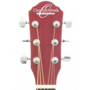 Oscar Schmidt OG10CEFTR Flame Transparent Red Electric Acoustic Guitar