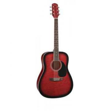 New Giannini Model Red Flame Sunburst Top Acoustic Guitar