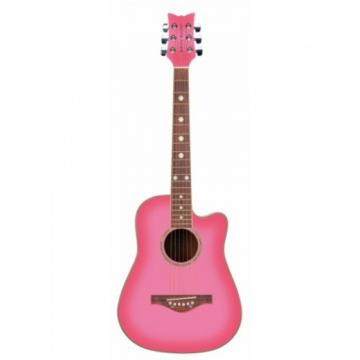 New Daisy Rock Wildwood Pink Acoustic Lefty Guitar 6260L