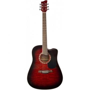 Jay Turser JTA454-QCET Series Acoustic Guitar Red Sunburst