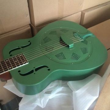 Green Brass Body O Single Cone Acoustic Resonator Resophonic Guitar