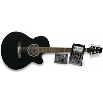 Great New Stagg Model Black Deluxe Electric Acoustic Concert Guitar