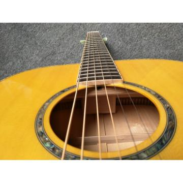 Custom Solid Spruce One Piece Set Neck Abalone Binding Acoustic Guitar
