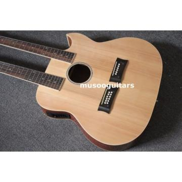Custom Shop Natural Double Neck Acoustic Electric Guitar