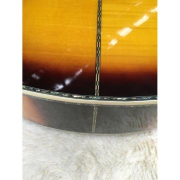 Custom Shop J200 6 Strings Sunburst Burst Acoustic Guitar Real Abalone