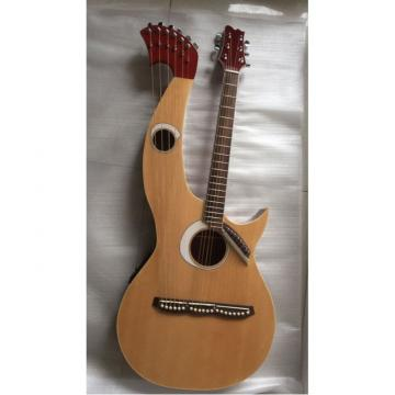 Custom Built Natural Double Neck Harp Acoustic Guitar
