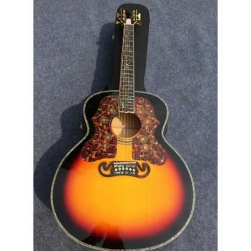 Custom J200 6 Strings Sunburst Burst Acoustic Guitar Real Abalone