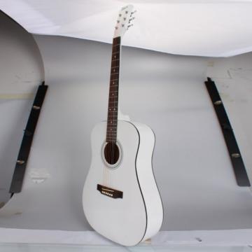 """Beginner 41"""" Folk Acoustic Wooden Guitar White"""
