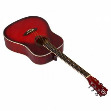 "Beginner 41"" Folk Acoustic Wooden Guitar Red"