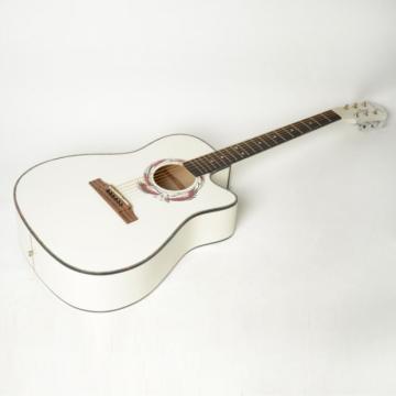 "Beginner 41"" Cutaway Folk Acoustic Wooden Guitar White"