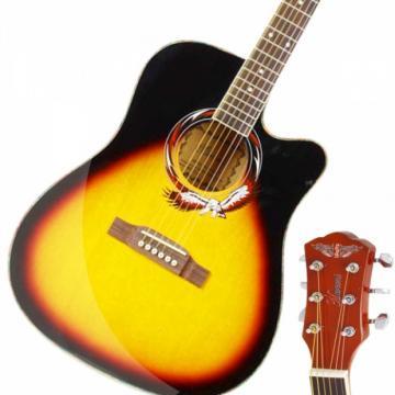 """Beginner 41"""" Cutaway Folk Acoustic Wooden Guitar Sunset Red"""