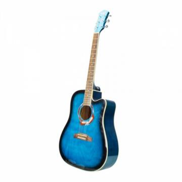 "Beginner 41"" Cutaway Folk Acoustic Wooden Guitar Blue"