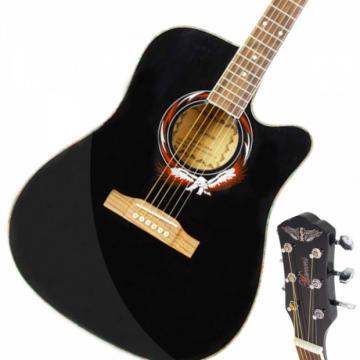 "Beginner 41"" Cutaway Folk Acoustic Wooden Guitar Black"