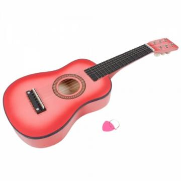 "4Pcs 23"" Black Pink Blue and Red Acoustic Guitar & Pick & Strings for Boys and Girls"