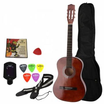"""38"""" Classical Acoustic Guitar Brown with Extra Guitar Tuner, 38"""" Bag, 5 x Alice Picks, Strap, Guitar Strings Set"""