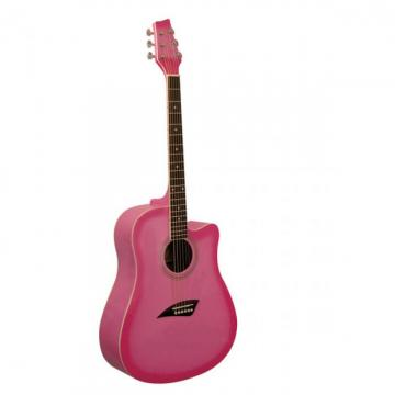 2013 Kona Pretty Pink Acoustic Dreadnought Cutaway Guitar