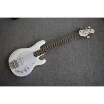 Custom White Music Man Sting Ray 5 Bass 9 V Battery Passive Pickups