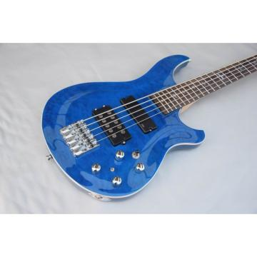 Custom Shop EMG PRS SE 5 String Bass Blue Quilted Maple Top