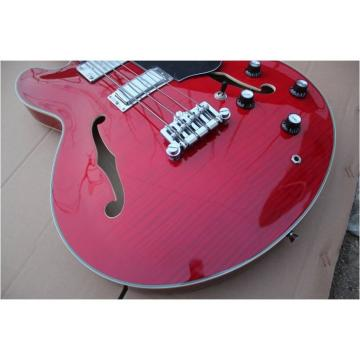 Custom Shop Cherry Red Midtown Standard 4 String Semi Hollow Bass