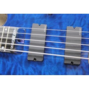 Custom Modulus Quantum 5 Quilted Maple Top 5 String Bass Blue
