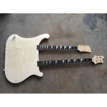 Custom Flame Maple Top Unfinished Neck Thru Body 4003 Bass Double Neck