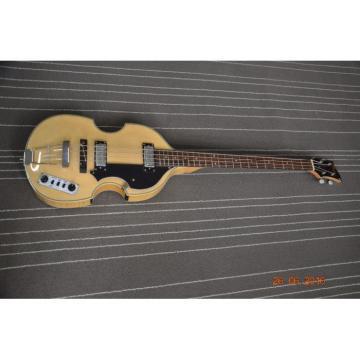 Custom Hofner Jubilee Union Jack Paul Mcartney Violin 4 String Bass Guitar Natural