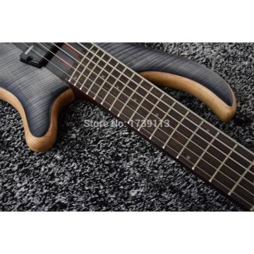 Custom Built LED Light Fretboard Gray Flame Maple Top Patriot 6 String Electric Bass