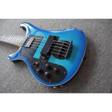 Custom 5 String Left Handed Rickenbacker Blue Maple Top 4003 Bass
