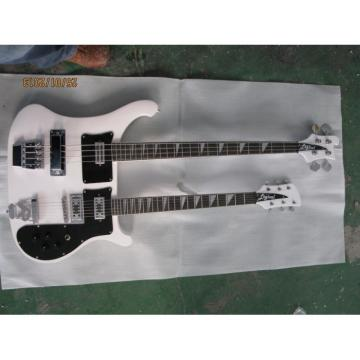 Custom 4080 Double Neck Geddy Lee White 4 String Bass 6 String Guitar
