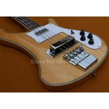 Custom 4003 Natural Checkerboard Bindings Neck Thru Body Rickenbacker Bass