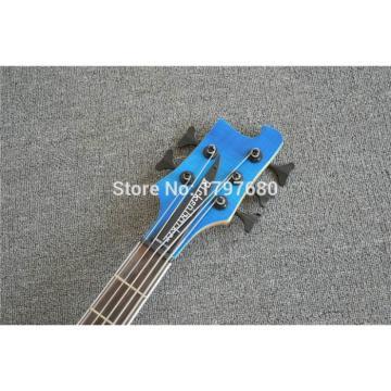 Custom 24 Frets Flame Maple Top Blue 4003 Neck Thru Body 5 String Bass