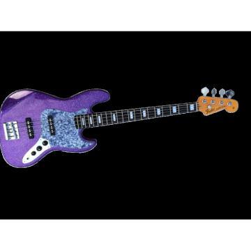 Custom Shop Sparkle Purple Jazz Silver Dust Metallic Bass Guitar