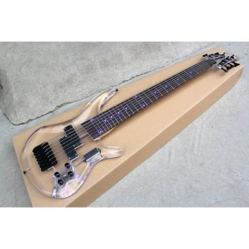 Custom Shop H&S Sequoia 7 String Acrylic Bass Blue LED Light Fretboard