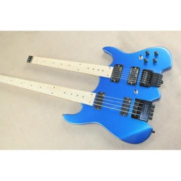 Custom Shop Double Neck Blue Steinberger Headless 4 String Electric Bass 6 String Guitar