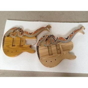Custom Shop 4 String Cobra Snake Hand Painted Carved Electric Bass