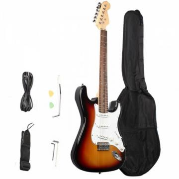 Rosewood Fingerboard Electric Guitar with Gig bag & Accessories White Red