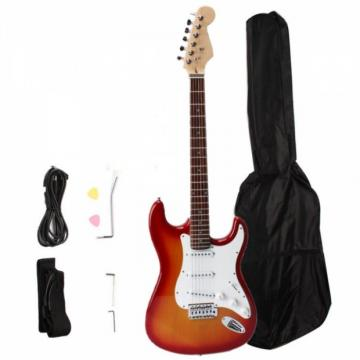 Rosewood Fingerboard Electric Guitar with Gig bag & Accessories Sunset Red