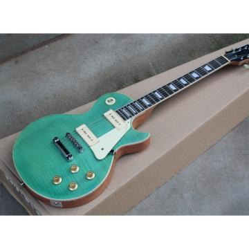 Custom Shop Teal Flame Maple Top LP P90 Electric Guitar