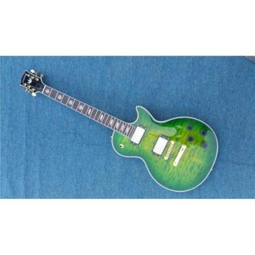 Custom Shop Quilted Maple Top Green Customed Headstock Electric Guitar
