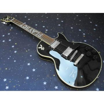Custom Shop Playboy Fretboard Inlay Black Electric Guitar