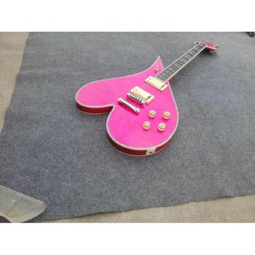Custom Shop Pink Flame Maple Body Heart Electric Guitar