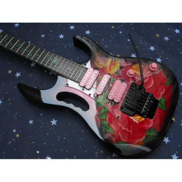 Custom Shop Ibanez Red Flower Electric Guitar