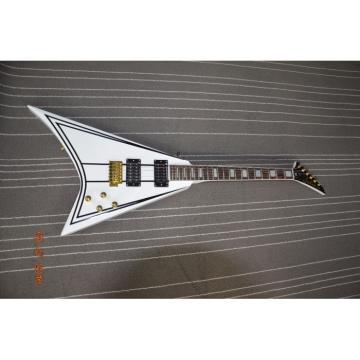 Custom Shop Flying V Jackson White Black Stripe Electric Guitar