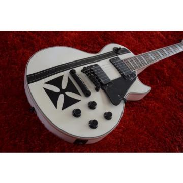 Custom Shop ESP Metallica James Hetfield Iron Cross  Snow White w/ Stripes Graphic Electric Guitar