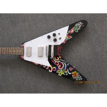 Custom Shop Black Jimi Hendrix Flying V Electric Guitar