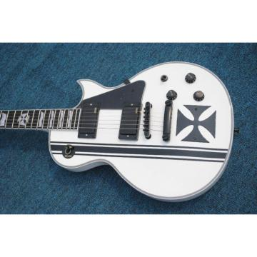 Custom Made ESP Metallica James Hetfield Iron Cross  Snow White w/ Stripes Graphic Electric Guitar