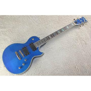 Custom LTD Deluxe ESP Flame Maple Top Blue Electric Guitar